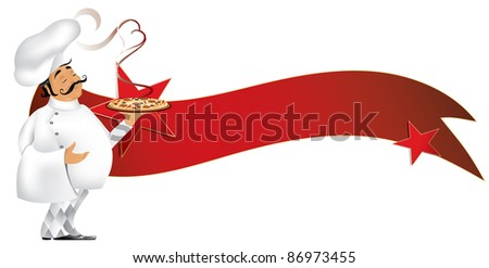Chef and pizza  with banner (also available vector version of this image) - stock vector