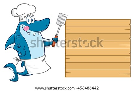 Chef Blue Shark Cartoon Mascot Character Licking His Lips And Holding A Spatula To Wooden Blank Board. Vector Illustration Isolated On White Background - stock vector