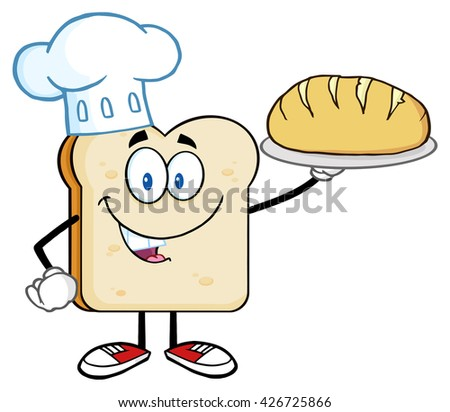 Chef Bread Slice Cartoon Character Presenting Perfect Bread. Vector Illustration Isolated On White Background