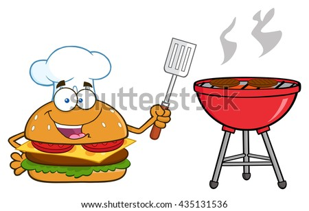 Chef Burger Cartoon Mascot Character Holding A Slotted Spatula By A Barbecue. Vector Illustration Isolated On White Background - stock vector