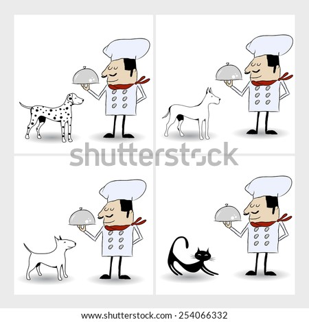 Chef Cartoon Characters 1. Vector Collection Set. cook for animals - stock vector
