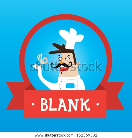 Chef cartoon label - stock vector