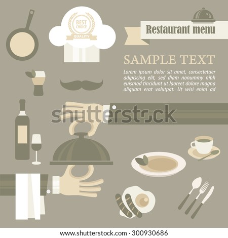 Chef concept, waiter hand opening tray of food, vector illustration - stock vector