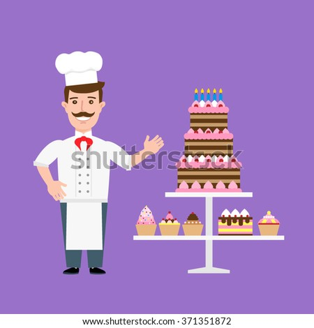 chef confectioner in uniform with  cream cakes and cupcakes - stock vector