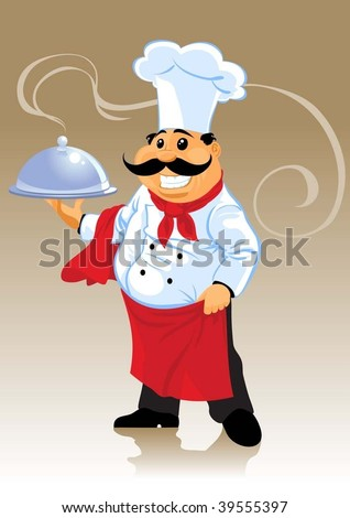 chef cook and plate - stock vector