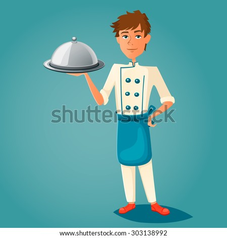 Chef cook holds a tray. Vector illustration. - stock vector