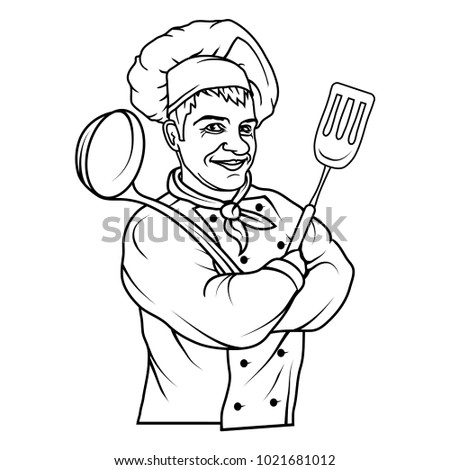 Chef cook standing in a different pose. Chef in uniform. Cook logo. Chef Hat. Professional Chef cook
