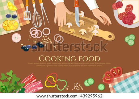 Chef cooks preparing food cook hands on the kitchen table top view vector illustration - stock vector