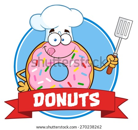 Chef Donut Cartoon Character With Sprinkles Circle Label With Text. Vector Illustration Isolated On White - stock vector