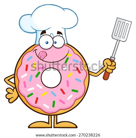 Chef Donut Cartoon Character With Sprinkles Holding A Slotted Spatula. Vector Illustration Isolated On White - stock vector