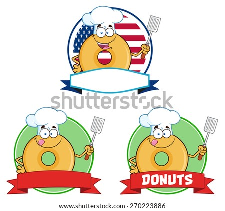 Chef Donut Cartoon Characters Circle Labels. Vector Collection Set Isolated On White - stock vector