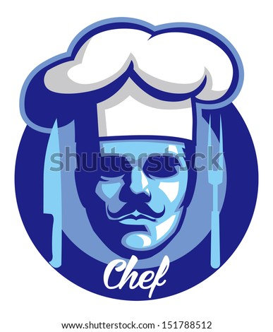 chef face mascot - stock vector