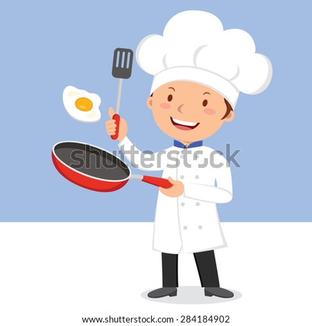 Chef frying egg. Chef man flipping egg in a flying pan. - stock vector