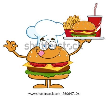 Chef Hamburger Cartoon Character Holding A Platter With Burger, French Fries And A Soda. Vector Illustration Isolated On White - stock vector