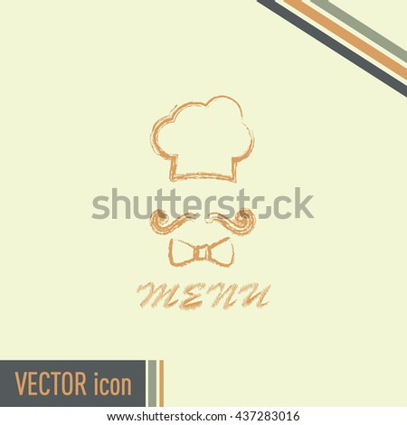 Chef hat and big mustache. Menu card. Vector illustration.
