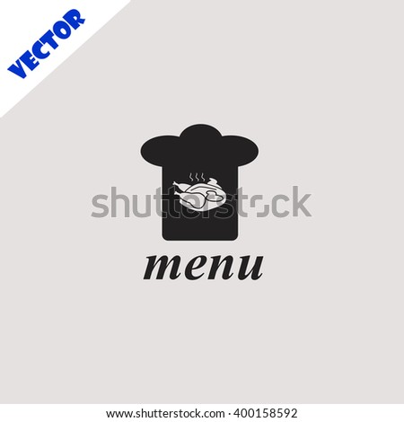 Chef hat icon. Chef hat vector. Grey icon on grey background. - stock vector
