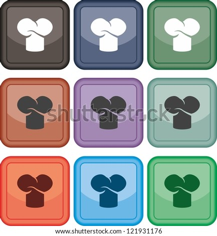 Chef hat, icon, vector - stock vector