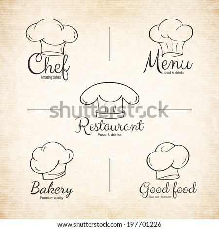 Chef hat labels set for restaurant menu design - stock vector