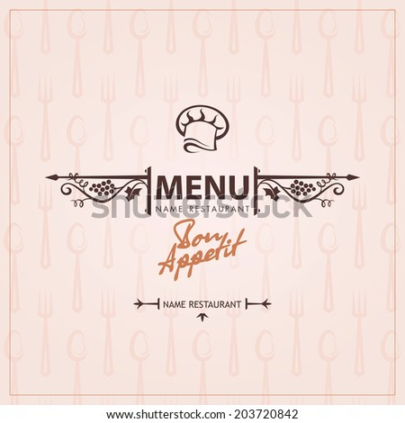chef hat menu design - stock vector