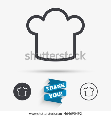 Chef hat sign icon. Cooking symbol. Cooks hat. Flat icons. Buttons with icons. Thank you ribbon. Vector