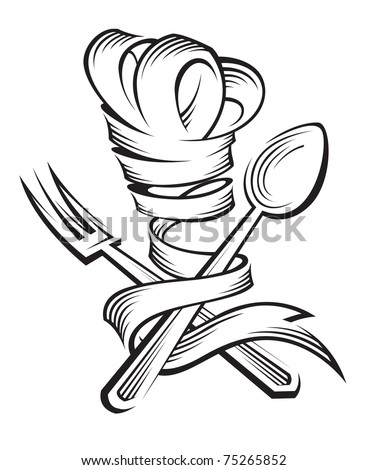 chef hat, spoon and fork - stock vector