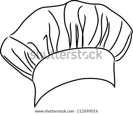 Chef Hat Vector Line Drawing Stock Vector 112690016