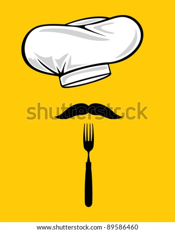chef hat with fork and mustache - stock vector