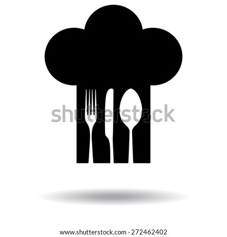 Chef hat with fork, spoon and knife inside. with shadow - stock vector