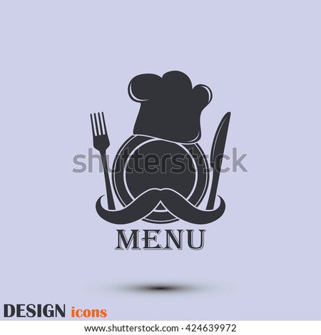 Chef hat with moustache. Foods Service icon. Menu card. vector il - stock vector