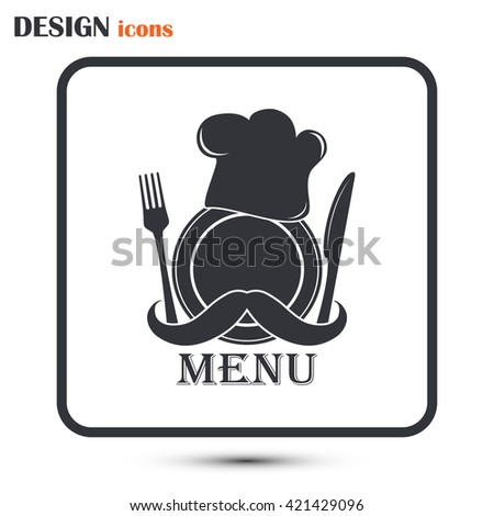 Chef hat with mustache. Foods Service icon. Menu card.  - stock vector