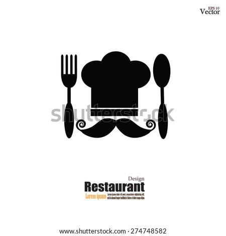 Chef hat with mustache spoon and fork. Menu card. Flat design style. Vector illustration. - stock vector