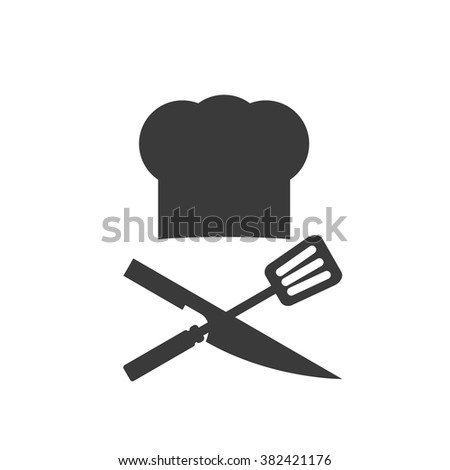 Chef hat with spatula and knife - stock vector