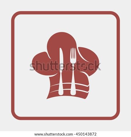 Chef hat with spoon and knife inside. - stock vector
