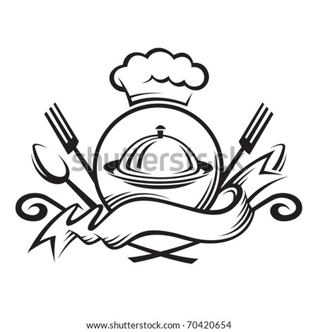 chef hat with spoon,fork and dish - stock vector