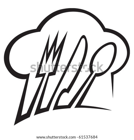 chef hat with spoon, knife and fork - stock vector