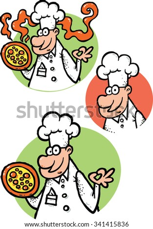 Chef head cook with pizza and white hat illustration