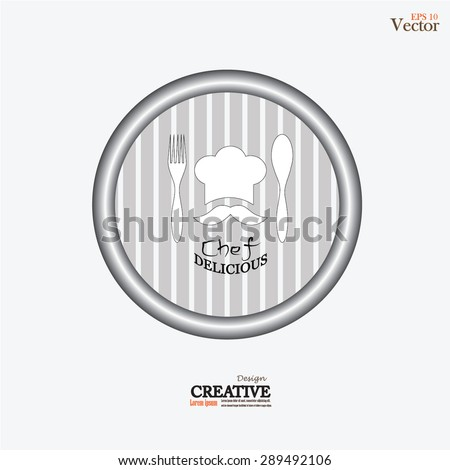 chef icon.Chef icon with spoon and fork.Chef symbol.vector illustration. - stock vector