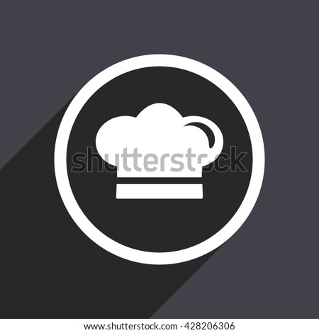Chef icon. Flat design vector button. Web and mobile app design illustration - stock vector
