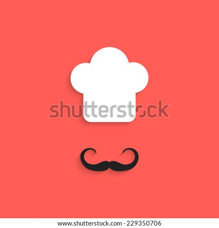 chef icon with mustache isolated on red background. flat style design trendy modern vector illustration - stock vector