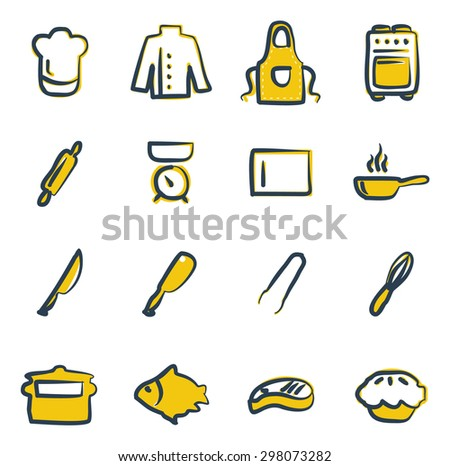 Chef Icons Freehand 2 Color - stock vector