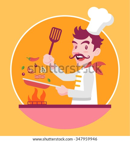 Chef is cooking. Vector flat illustration - stock vector