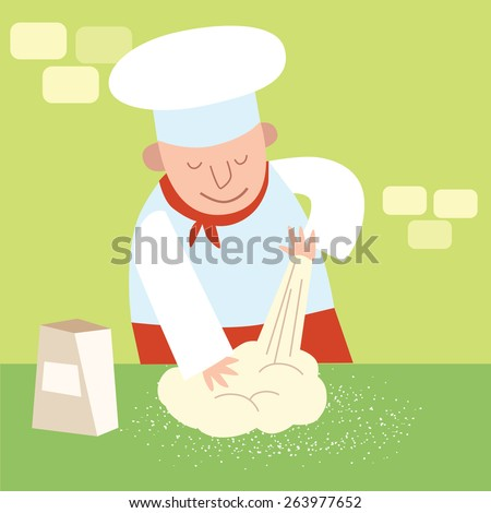 Chef of the restaurant in the kitchen kneads dough. Cook in a candy store - stock vector
