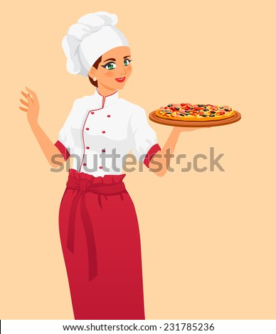 Chef offers to clients tasty classical italian food. Pizza are very appetizing. Girl wears cook uniform, hat and red apron. Isolated vector on white background. - stock vector
