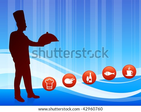 Chef on wave background with internet buttons Original Vector Illustration