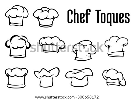Chef or baker white toques, caps and hats in outline style isolated on white background, for cafe menu or restaurant concept design