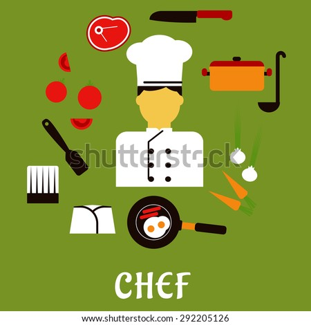 Chef profession flat concept with man in uniform surrounded by fresh tomatoes, onions and carrots, pan with eggs and bacon, knife, saucepan with ladle, meat steak, chef hats and spatula - stock vector