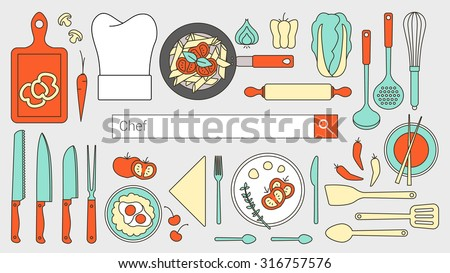 Chef, restaurant and cooking banner with search bar, thin line objects and tools set - stock vector
