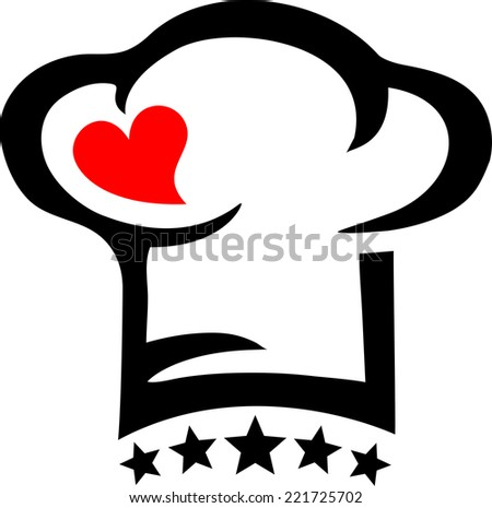 Chef`s hat, heart, star, Cooking with love! - stock vector
