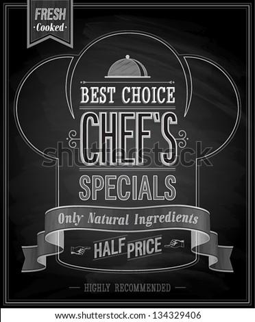 Chef`s specials Poster - Chalkboard. Vector illustration. - stock vector