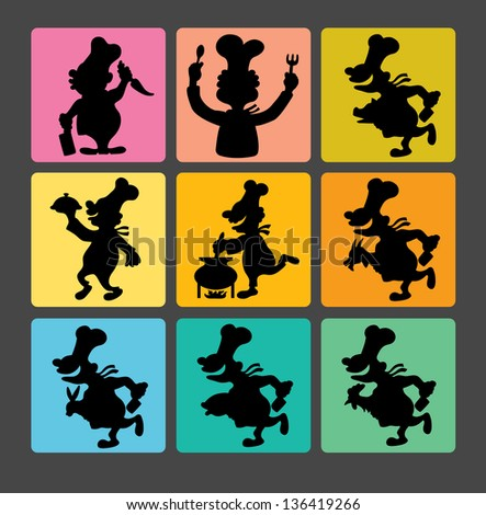 Chef Silhouette Symbols 1. Smooth and detail chef activity black shadow. Good use for symbol, icon, logo, or any design you want. - stock vector